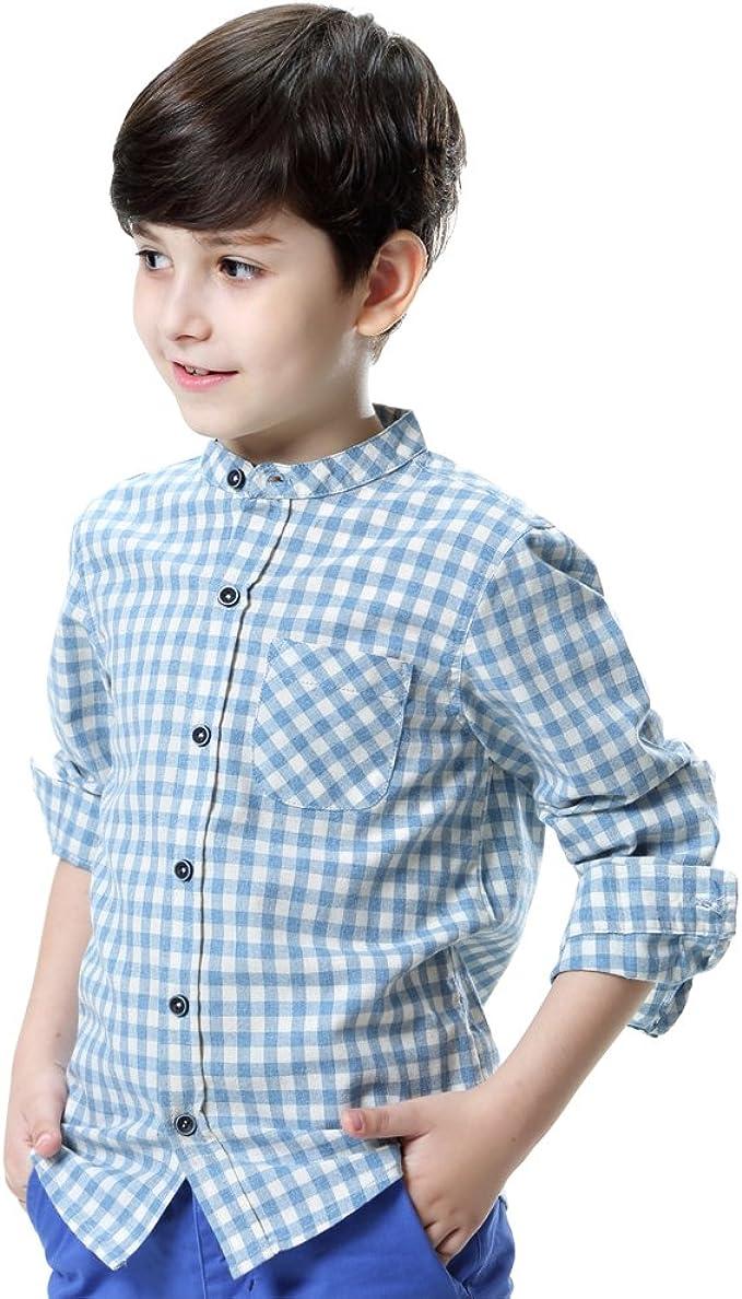 KID1234 Boys Shirts Long Sleeve Tops Cotton Plaid Clothes Kids School Uniform 6-14 Years