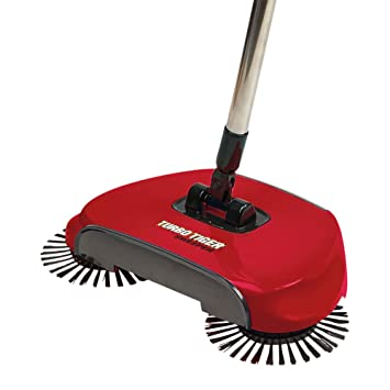 Tristar Turbo Tiger Sweeper - Hard Floor Rotating Brush Broom - Red