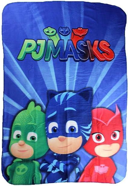 PJ Masks Héroes en Pijamas PJ61001 Manta Polar, Multicolor, Gatuno, Buhíta, Gecko (Tres)