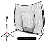 PowerNet Baseball Softball 7×7 Practice Net Bundle w/ Travel Tee