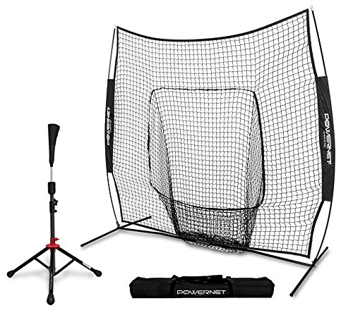 Backstop Portable Cage (PowerNet Baseball Softball Practice Net 7x7 with Deluxe Tee (Black) | Practice Hitting, Pitching, Batting, Fielding | Portable, Backstop, Training Aid, Lg Mouth, Bow Frame | Training Equipment Bundle)