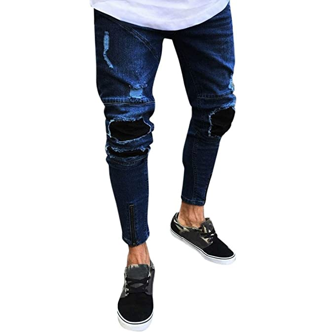 77a7222e iMakcc Men Skinny Feet Distressed Ripped Jeans Zipper Slim Frayed Destroyed  Denim Pant (S,