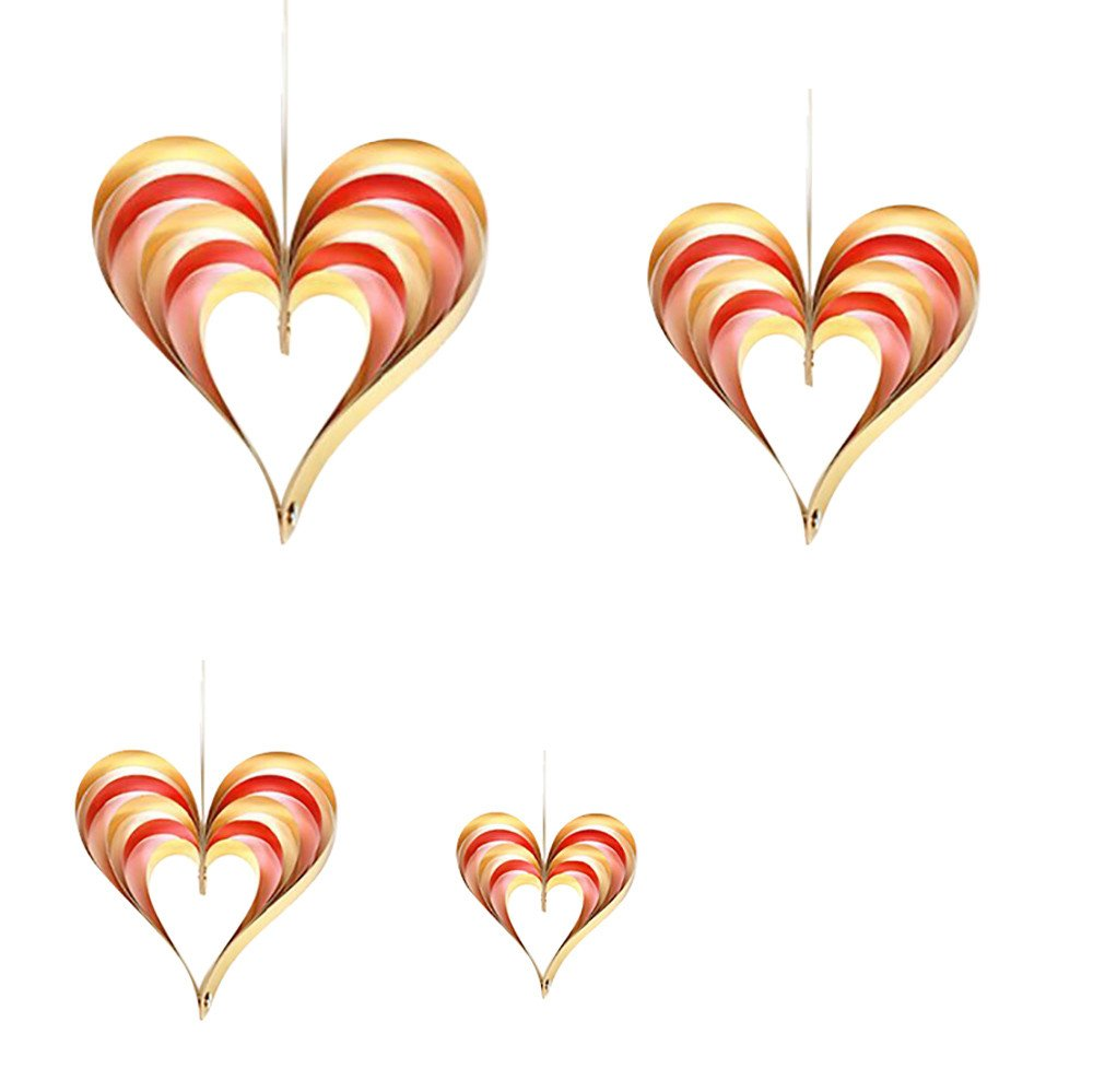 4Pcs Cardboard fold Heart Shaped Hanging Ornaments Birthday Wedding Door Decor (B)