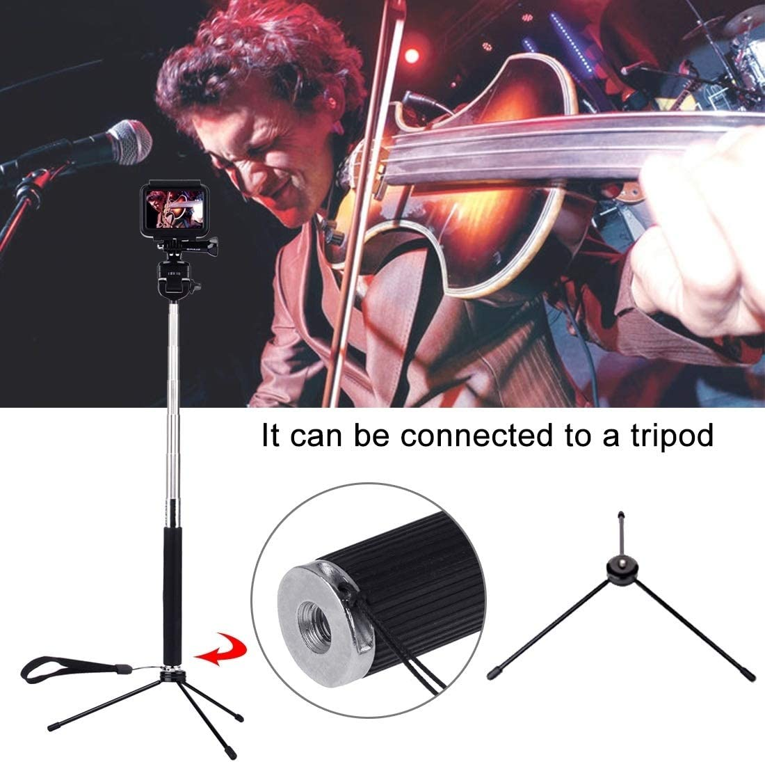 Length: 22.5-100cm Reliable Xiaoyi and Other Action Cameras Chaomin Extendable Handheld Selfie Monopod for GoPro New Hero//HERO7 //6//5 //5 Session //4 Session //4//3+ //3//2 //1 DJI New Action