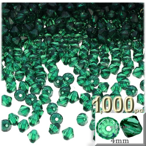 (The Crafts Outlet, 1,000-pc Acrylic Bicone Beads, Faceted, 4mm, Emerald Green)