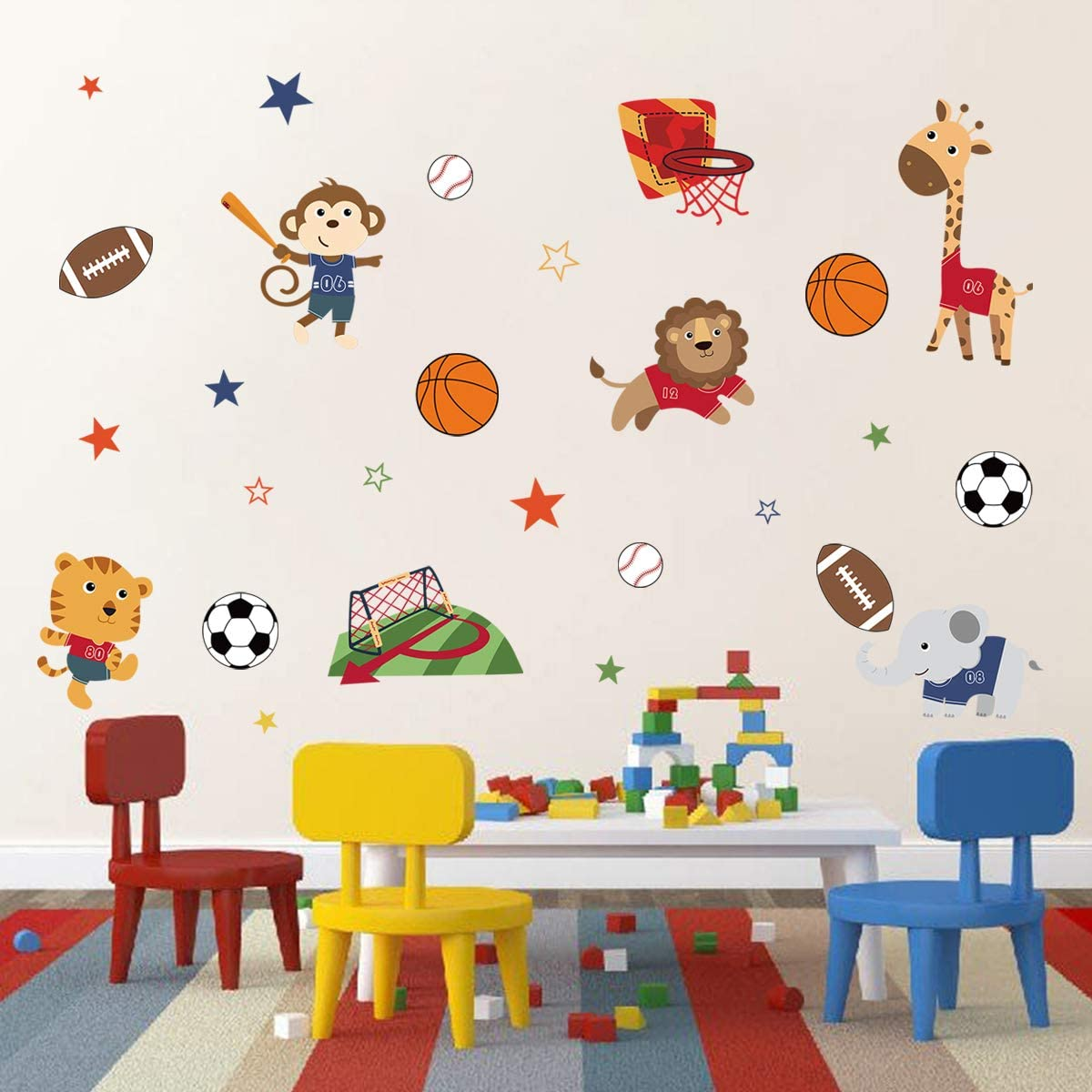 decalmile Sports Animals Wall Decals Monkey Elephant Giraffe Wall Stickers Baby Nursery Boys Bedroom Playroom Wall Decor