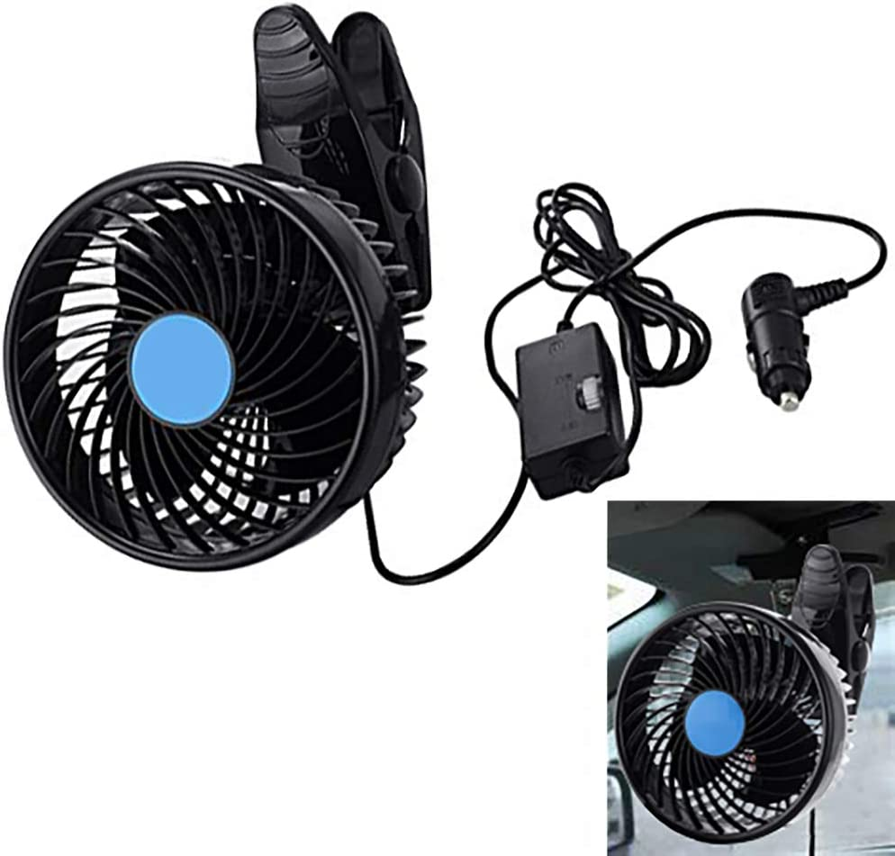 Clip Car Fan for Carseat Automobile Quiet Cooling Fan with Clip 12V Power 9W 6 inch Swivel Car Air Fan with Speed Switch & Car Cigarette Light (Black)