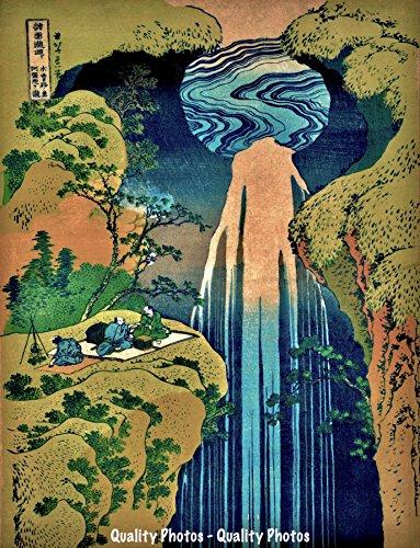 PIcnic at Amida Falls 8.5x11 Photo Print Classic Japanese Woodblock Art Katsushika Hokusai
