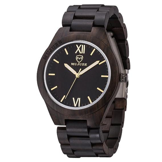 Reloj de pulsera de madera, MUJUZE Reloj de madera de cuarzo analógico ligero natural hecho