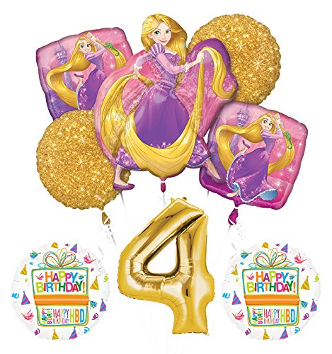 NEW! Tangled Rapunzel Disney Princess 4th BIRTHDAY PARTY Balloon decorations supplies]()