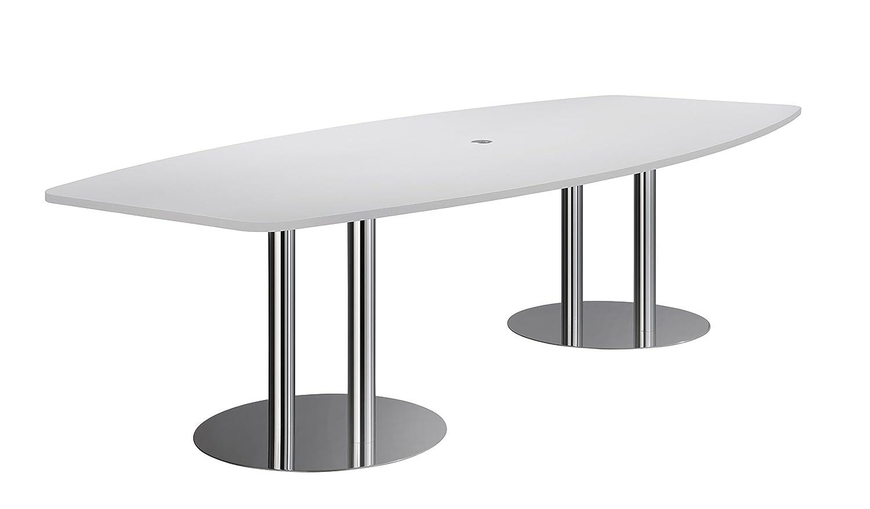 Hammerbacher Konferenztisch KT28S Säulenfüße, grau/chrom