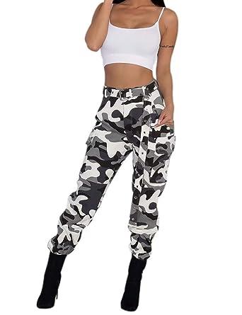 Tenadance Pantalons à Pince Camouflage Femme Taille Haute élastique au Bas  Poches Plaquées à Rabat aux 99ab1ab2920