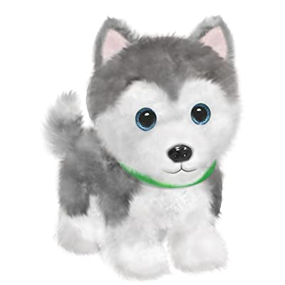 "First & Main 7"" Grey & White Wuffles Husky Puppy Dog Basic Plush Toys: Toys & Games"
