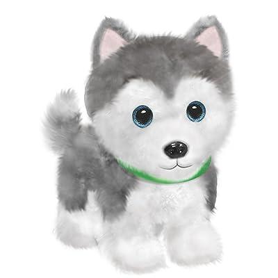 "First & Main 7"" Grey & White Wuffles Husky Puppy Dog Basic Plush Toys: Toys & Games"