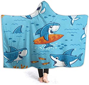 EJudge Fleece Wearable Hooded Blanket Underwater Hipster Shark Fish Soft Cozy Fuzzy Plush Kids Blankets Hoodie Microfiber Throw Wrap Cloak Cape for Couch Sofa Chair Fall Nap Travel Kids/Baby