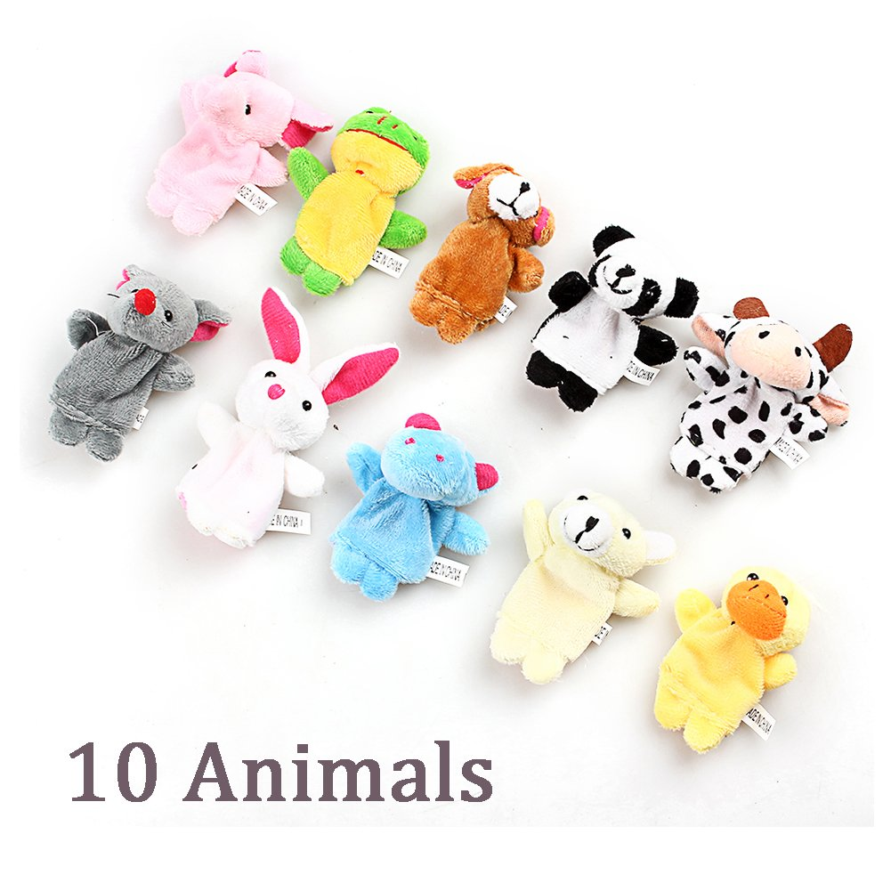 Awkli 16PCS Finger Puppets Set Novelty Educational Toys for Children Story Time, Shows, Playtime, Schools including 10 Animals + 6 People Family Members Christmas gift for kids