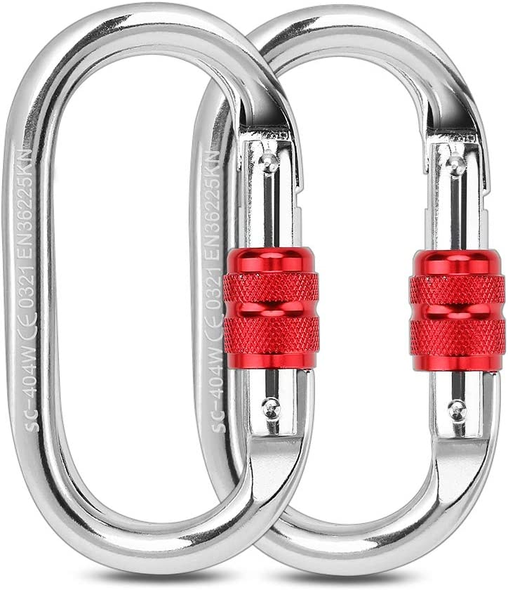 25KN O-Shaped Screw Locking Carabiner Clip Hook for Mountaineering Rock Climbing