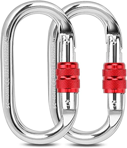 """US FREE SHIPPER New 2pc 3/"""" Aluminum Carabiner D-Ring Key Chain Clip Hook RED"""