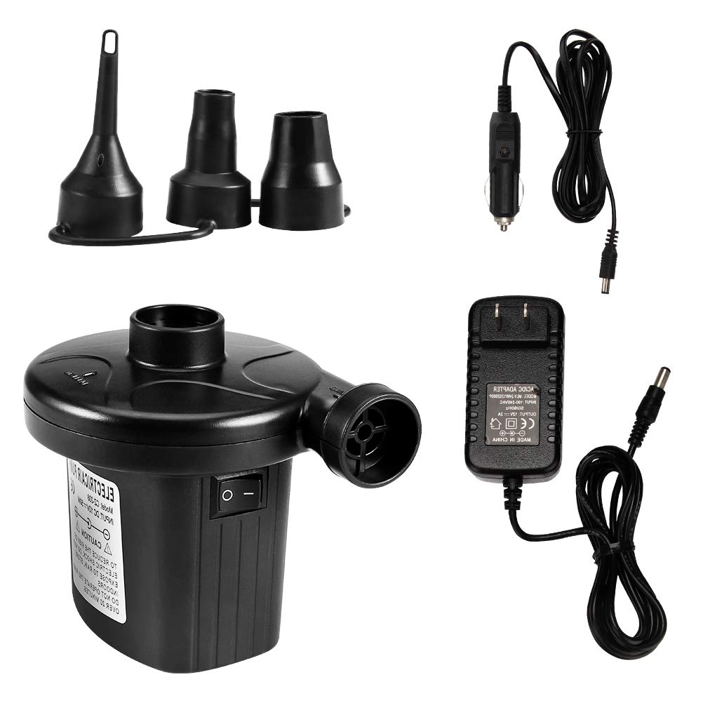 Loyps Electric Air Pump Quick-Fill Air Pump with 3 Nozzles Portable Air Mattress Inflator/Deflator Outdoor Camping Pump for Inflatables Airbeds Rafts Floats Boat Pool Toys 2 in 1 AC 110V AC/12V DC Car