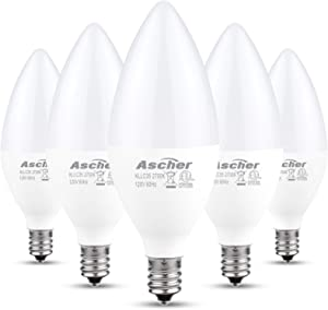 Ascher Classic E12 LED Candelabra Light Bulbs, Equivalent 60W, 550 Lumens, Warm White 2700K, Chandelier Bulb, Non-dimmable, Candelabra Base, Pack of 5