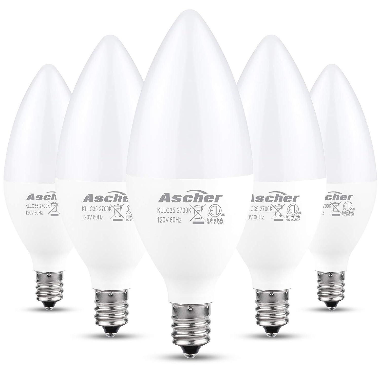 550 Lumens Candelabra Base Chandelier Bulb Warm White 2700K Pack of 5 Non-dimmable Equivalent 60W Ascher Classic E12 LED Candelabra Light Bulbs