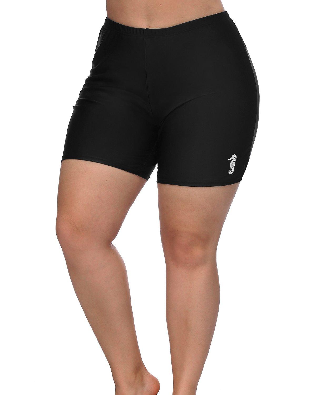 0bb11d857dc vivicoco Womens Plus Size Board Shorts High Waist Swim Shorts Swimsuit  Bottom 1X
