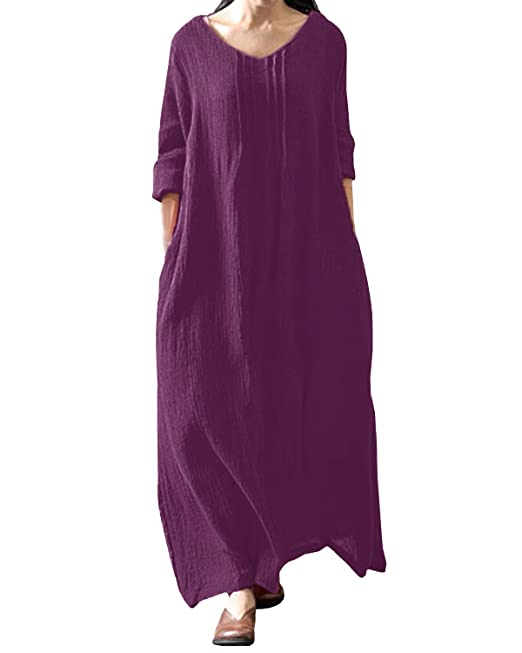 4f677cb5c5b2 Style Dome Womens Long Maxi Dress Vintage Retro Oversized Cotton Kaftan  Tunic Baggy Shirt Dress  Amazon.co.uk  Clothing