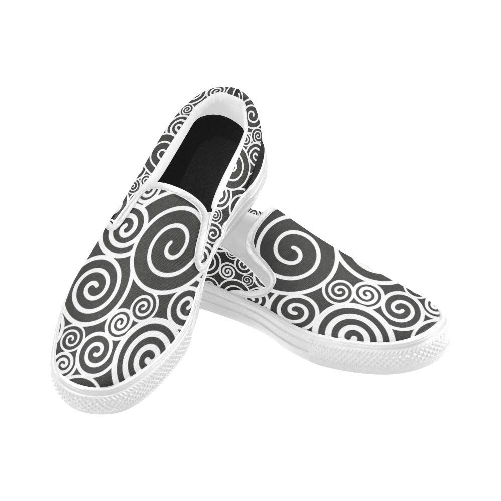 Non Slip Shoes Womens Black White Pattern Spirals Canvas Slip-on Casual Printing Comfortable Low Top Mens Sport Shoes