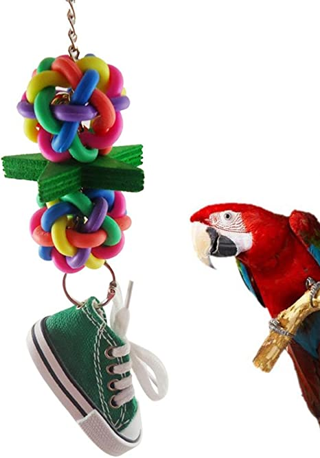 little finger Coloridas zapatillas de bola para loro, estrella, zapatilla, jaula para pájaros, escalada, juguetes colgantes, tamaño 25 cm (color al ...