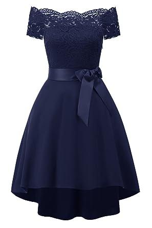 Elegant 1950er Off Schulter Spitze Cocktailkleid Abendkleid Retro ...