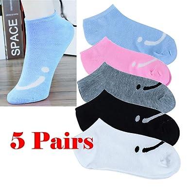 DOGZI Calcetines de deporte, Mujer Cómodo Sonriente Caramelo Color Algodón Calcetín Zapatillas Calcetines cortos de tobillo calcetines de barco: Amazon.es: ...