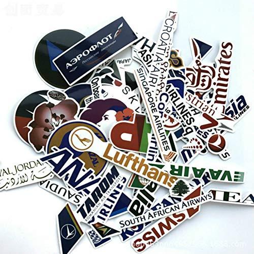 - DIY Decorative Sticker, World Airlines Sticker Sticker Laptop Mobile Sticker Suitcase Trolley Case Waterproof Sticker Pack of 52pc