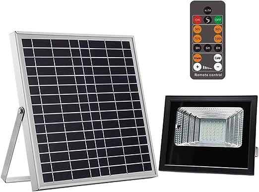 Foco LED Solar Exterior 100W, Foco Solar Exterior Jardin 36LED 1600LM, IP66 Impermeable Luz Solar Exterior Remoto con Indicador de Carga, Brillo Regulable, Detección de día y Noche: Amazon.es: Iluminación