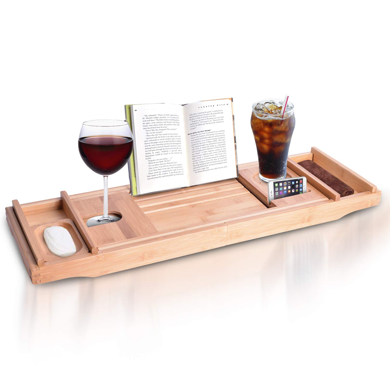 Bamboo Bathtub Caddy Tray Shelf - Natural Wooden Bath Tub Table Tray Caddy for Tub with Wine and Book Holder - Extending Sides over Every Tub - Wood Rack Caddie Valet Across Tubs for One or Two Person