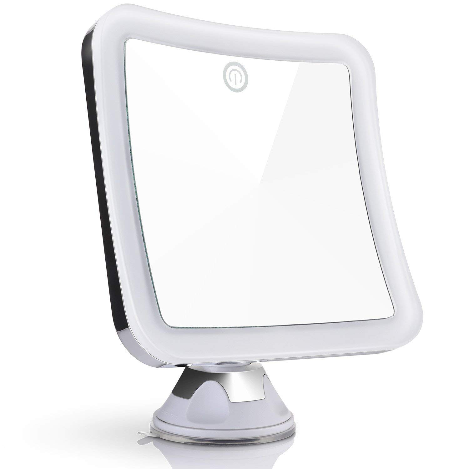 UK Plaque 10X Magnifying Lighted Travel Makeup Mirror, Touch Activated, Locking Suction Mount, Battery Operated, Square