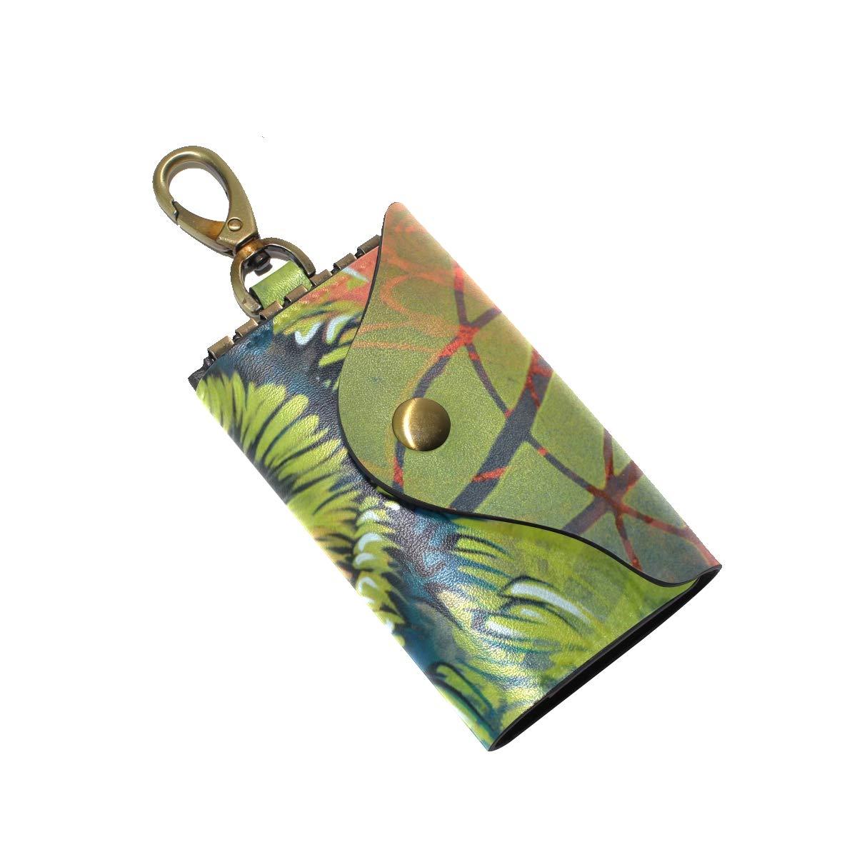 KEAKIA OWL Leather Key Case Wallets Tri-fold Key Holder Keychains with 6 Hooks 2 Slot Snap Closure for Men Women
