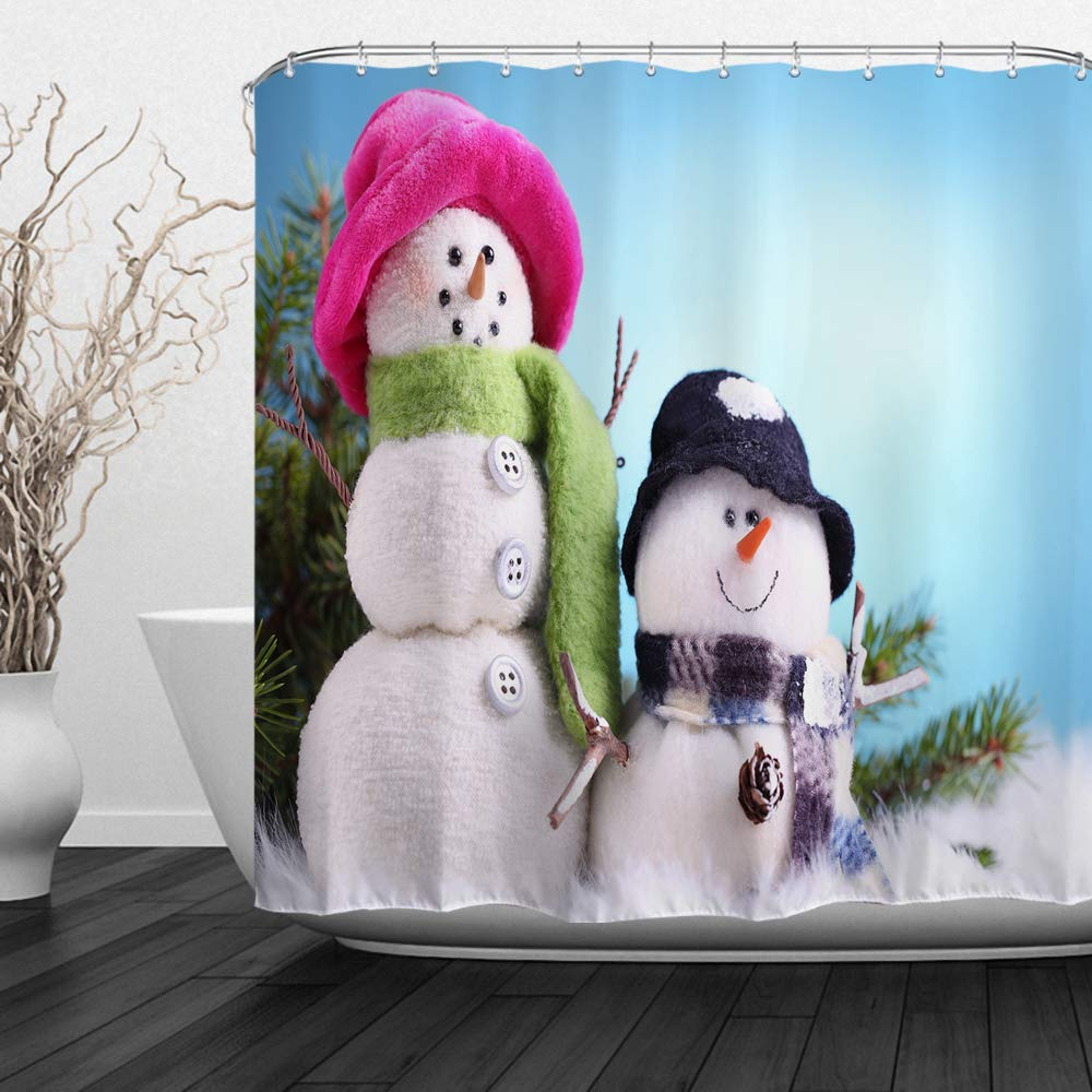 QIYI Christmas Snowman Shower Curtain Mildew Resistant,Anti-Bacterial,No Any Chemical Odor,Silky 100% Polyester Fabric,Easy to Rinse Off and Hang for Bathroom 60