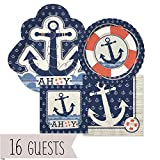 Big Dot of Happiness Ahoy Nautical - Party Tableware Plates, Napkins - Bundle for 16