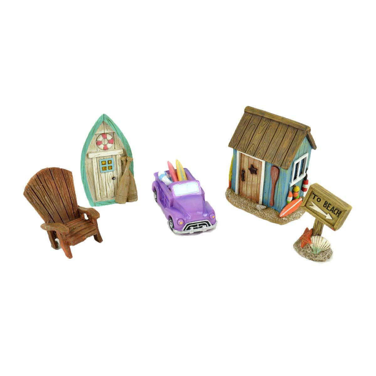 Midwest Design Imports, Inc. Miniature 5 pc Beach Fairy Garden Kit - Chair, Beach Hut, Mini Car, Sign, and Rowboat Door