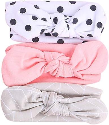 3 Pcs//Set Kids Baby Girls Cotton Bow Knot Headband Children Hair Band Head Wear