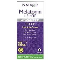 Natrol Melatonin + 5 HTP Advanced Sleep Time Release Bi-Layer Tablets, Triple-Action...