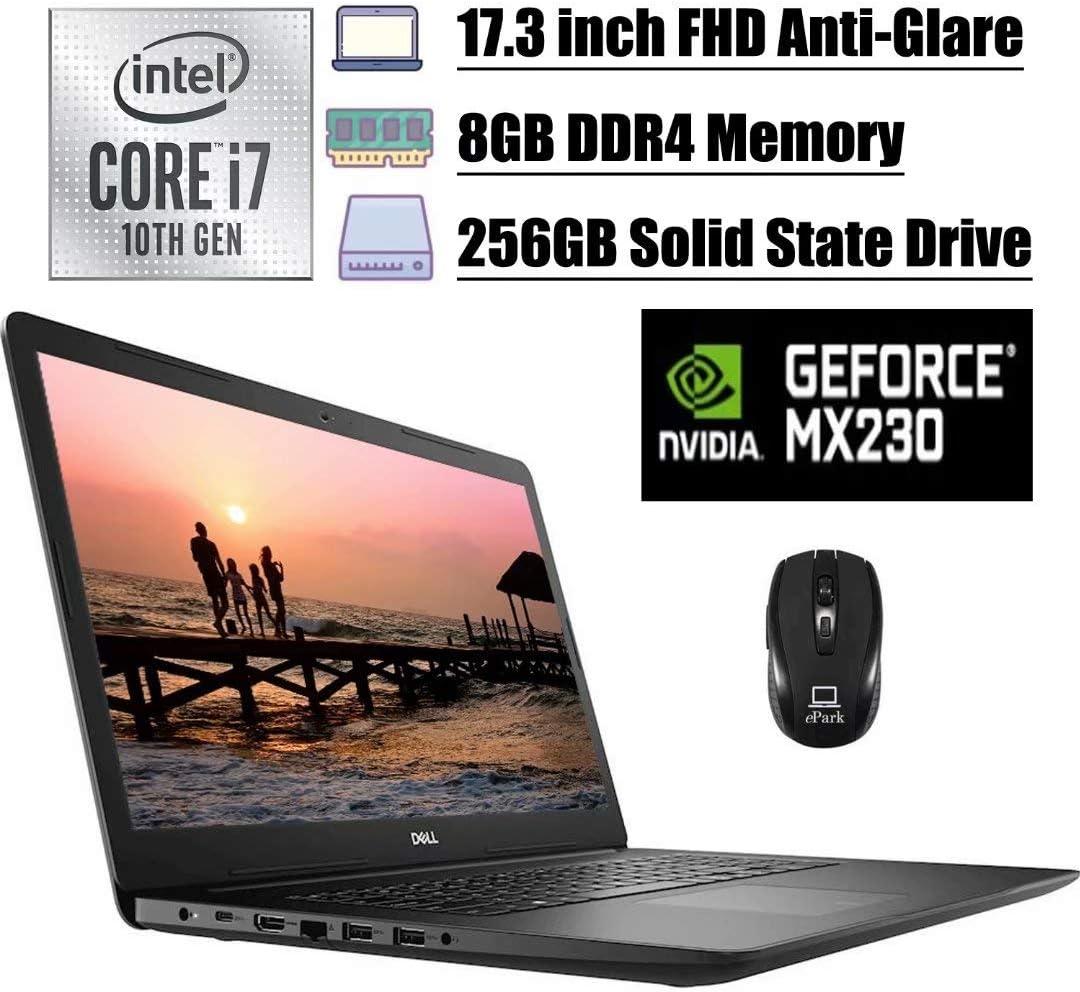 2020 Premium Dell Inspiron 17 3793 3000 Laptop, 17.3 inch FHD Anti-Glare, 10th Gen Intel Quad-Core i7-1065G7, 8GB DDR4 256GB SSD, 2GB MX230 MaxxAudio WiFi USB-C HDMI Win 10 + ePark Wireless Mouse