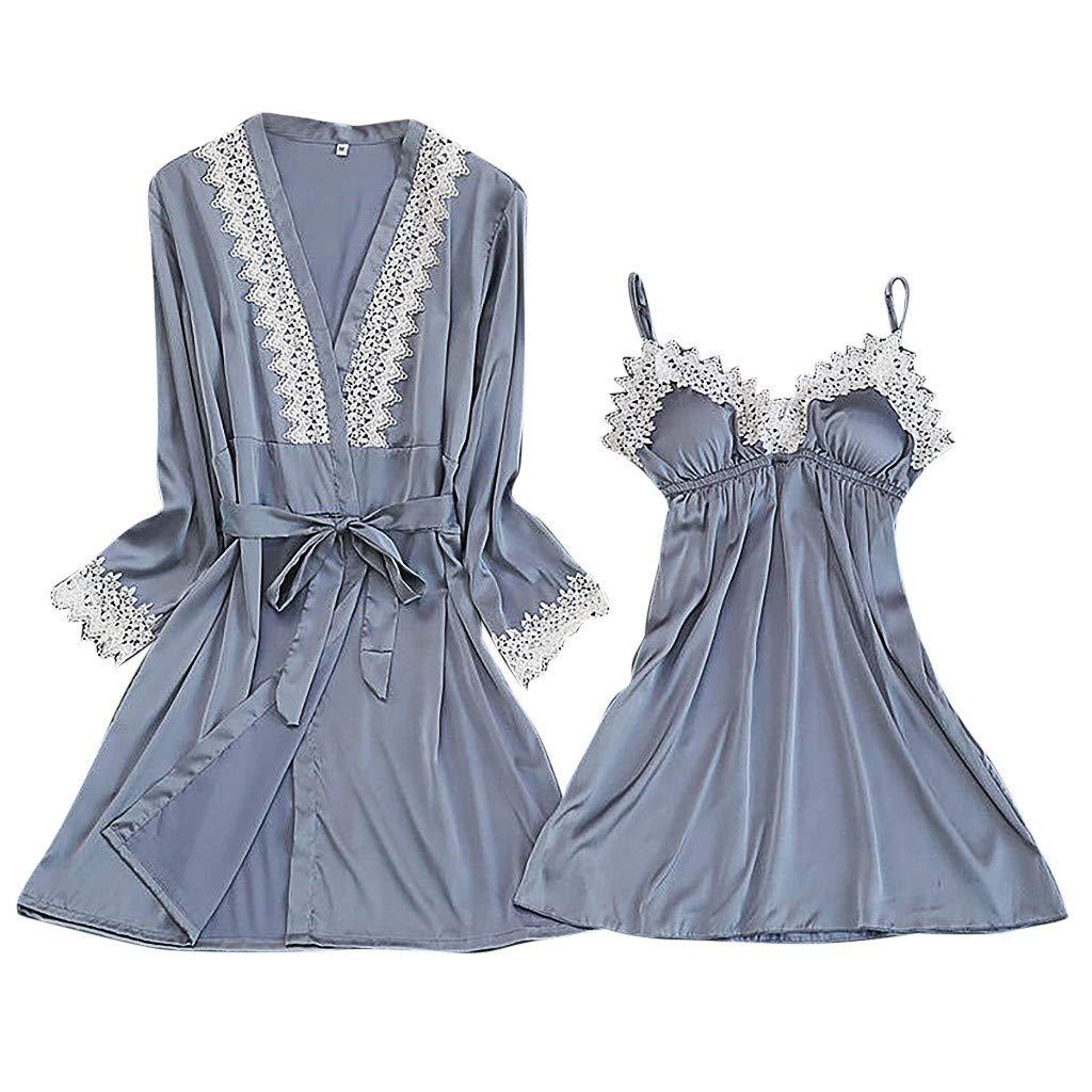 2019 New !Women's Silk Lace Lingerie Robe Dress Babydoll Sleepwear Nightdress Soft Pajamas Set Have a Good Dream (Gray, XXL)