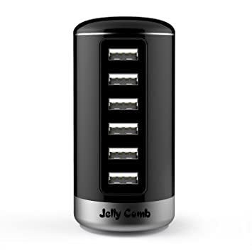 Jelly Comb Cargador de Red con 6 Puertos USB, Adaptador para Viaje con iSmart Tecnología, Negro
