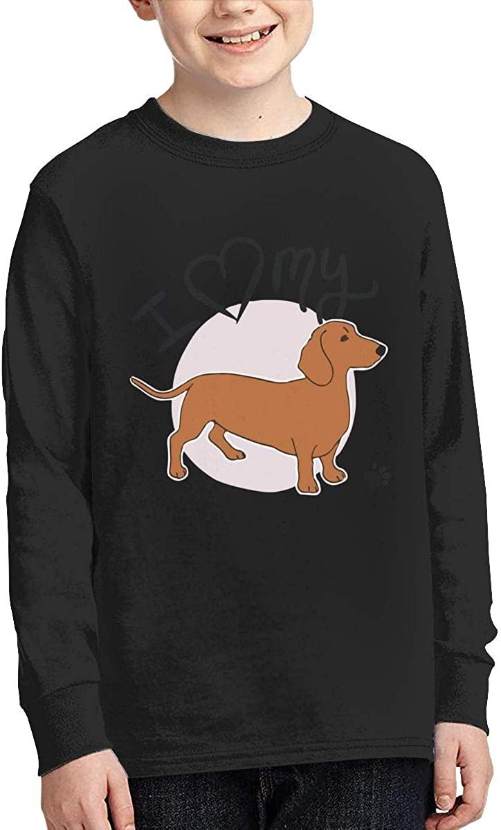 Teenagers Teen Girls I Love My Red Dachshund Dogs Printed Long Sleeve 100/% Cotton T Shirts