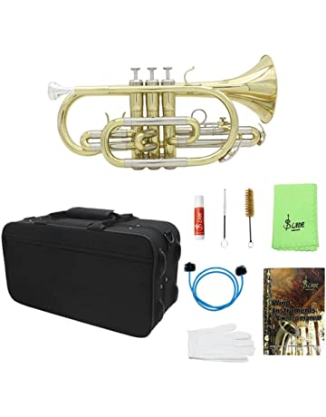 847c9ad2ef sharprepublic Trompeta Plana Profesional Cornet Kit De Instrumentos De  Latón Para Estudiantes Principiantes