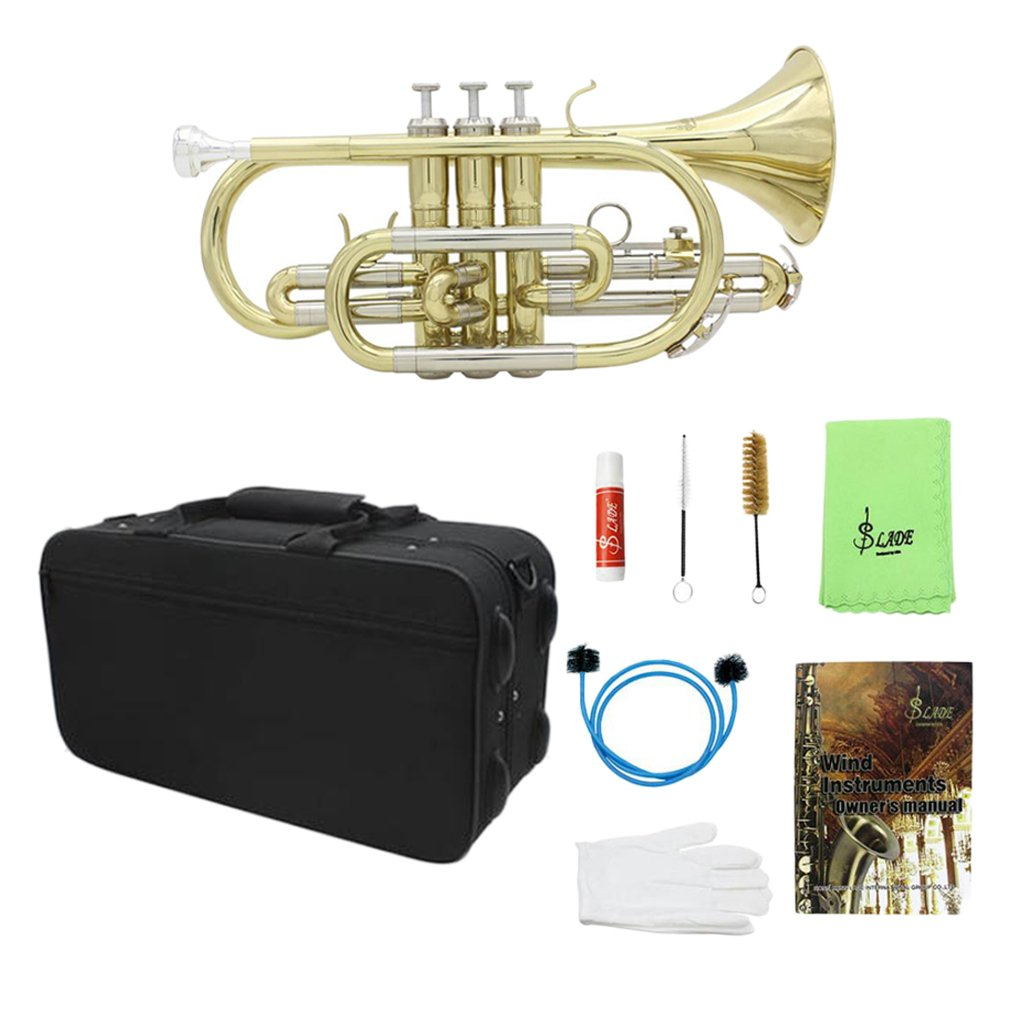 Jili Online Professional Bb Flat Cornet Brass with Storage Case Gloves Cloth Grease Brush Kit for Concert Practice