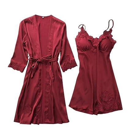 Gallity Women Sexy Lingerie Set Silk Lace Robe Dress Babydoll Nightdress + Sleepwear Kimono (L, Wine)