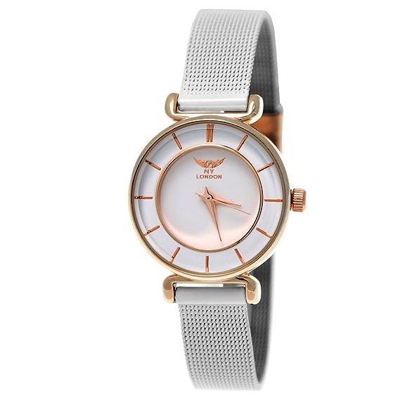 Elegante NY London Designer Mujer Reloj mujer RELOJ DE pulsera Blanco Rose Gold Incluye caja para