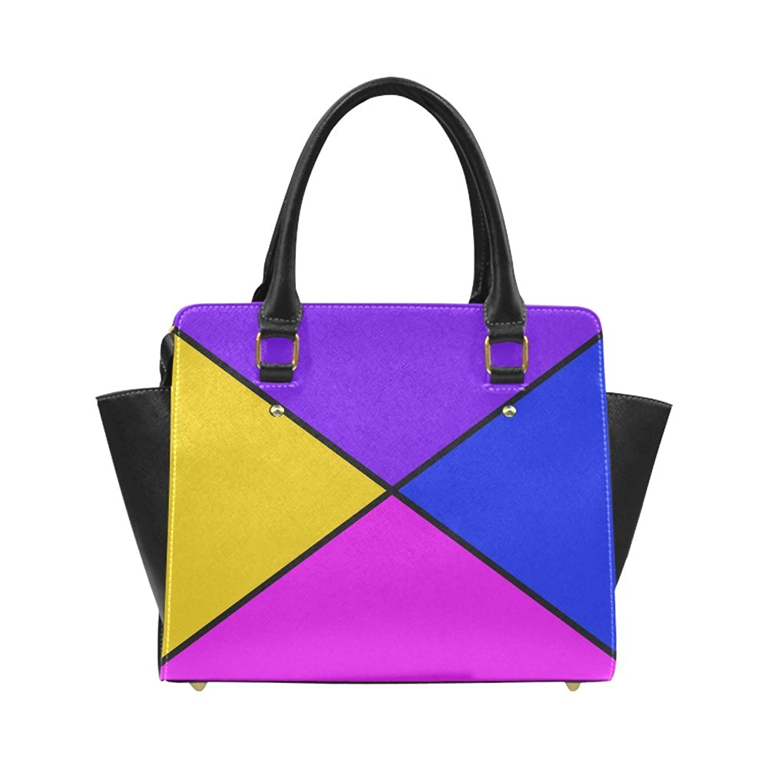 Interestprint Custom diagonal purple accented Classic Women Top Handbag Shoulder Bag